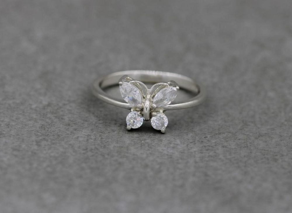 Sterling silver butterfly ring with clear stone wings