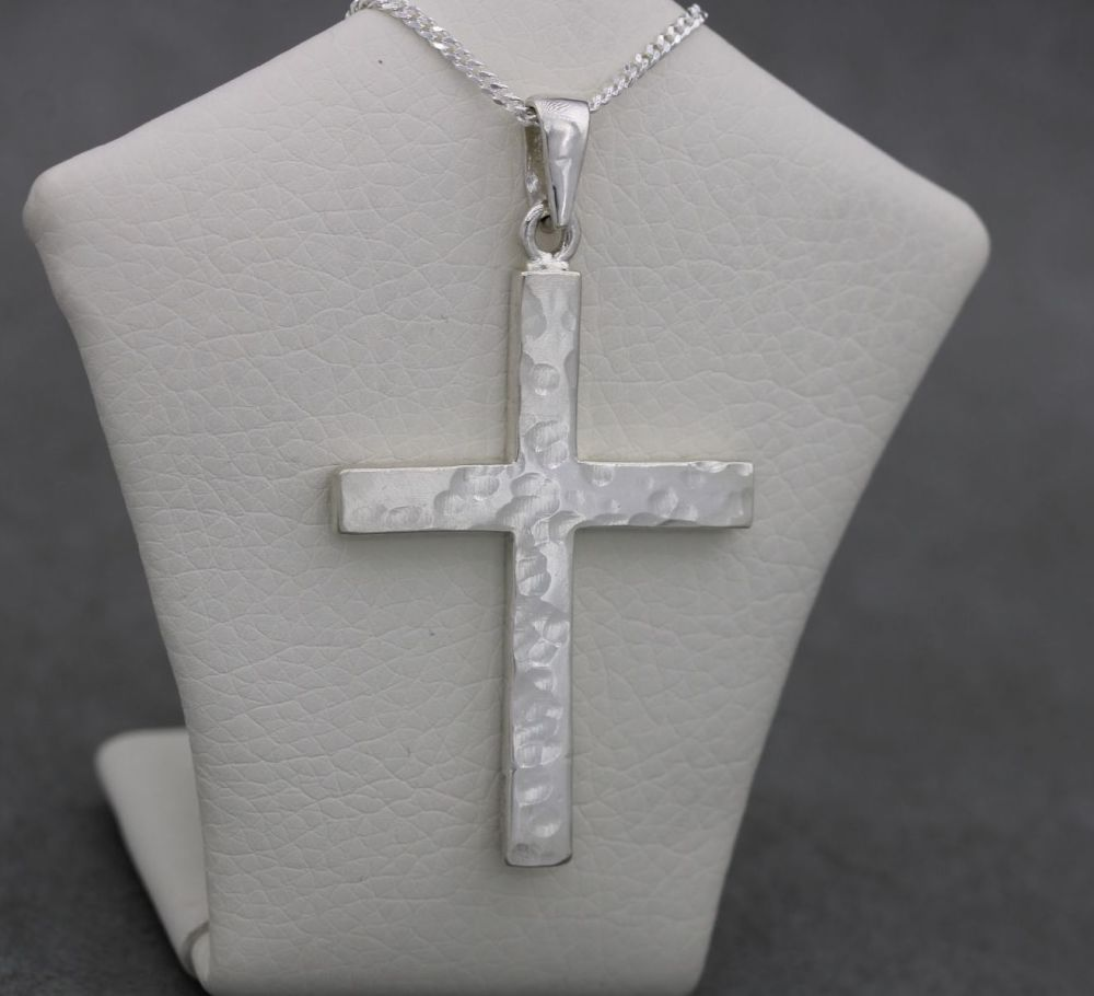 Large solid sterling silver hammered cross necklace