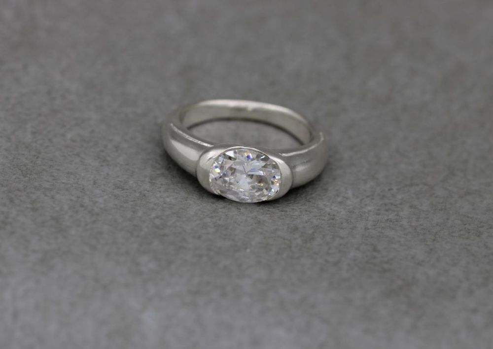 Sterling silver faceted oval solitaire ring