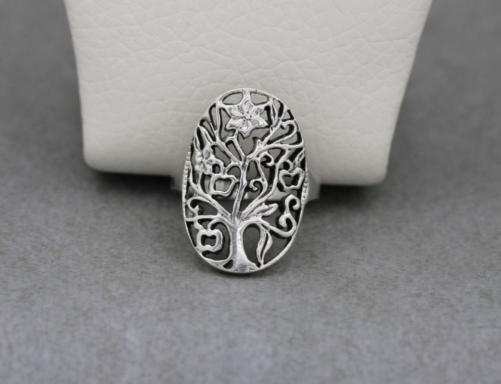 Large oval sterling silver tree of life ring