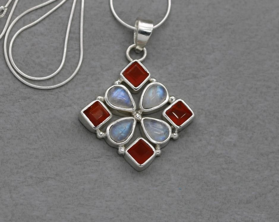 Sterling silver, moonstone & carnelian necklace