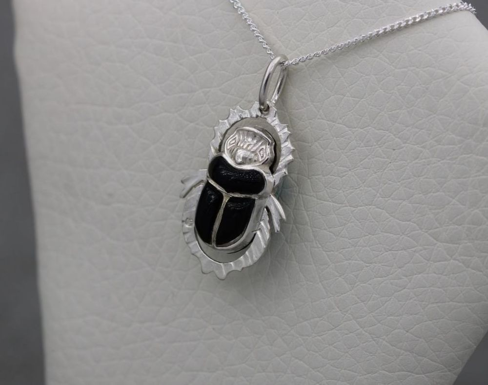 Egyptian 900 silver double-sided scarab beetle necklace (blue & black stone