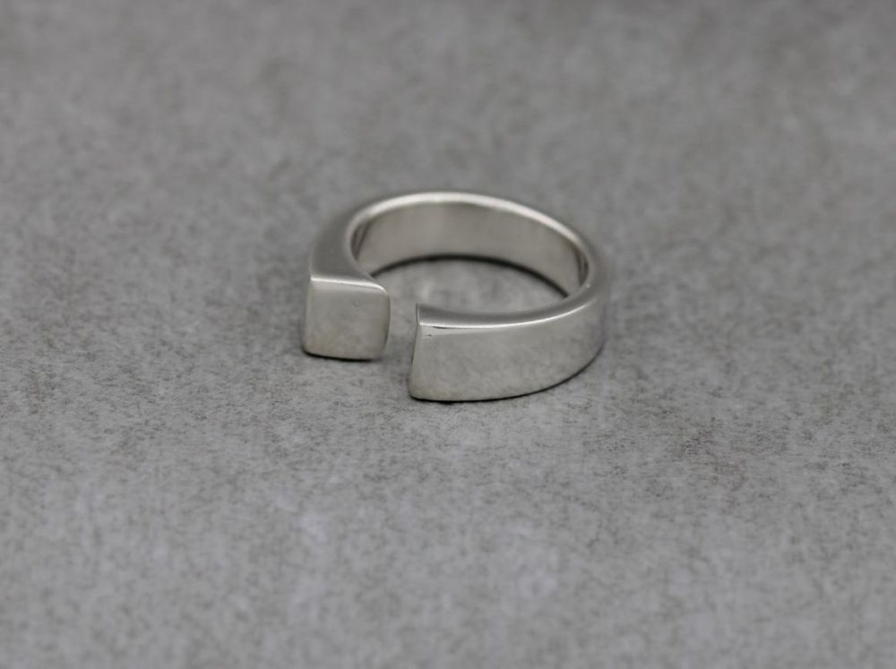 Solid sterling silver asymmetric ring