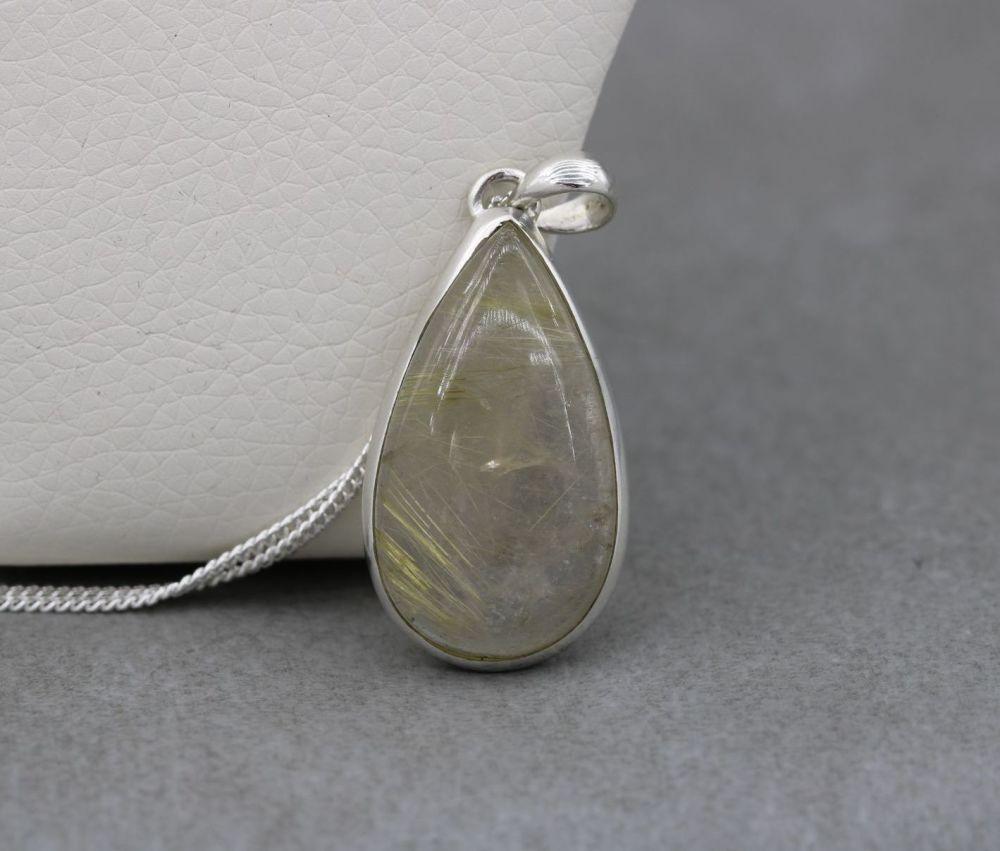 Sterling silver & lemon rutile quartz teardrop necklace