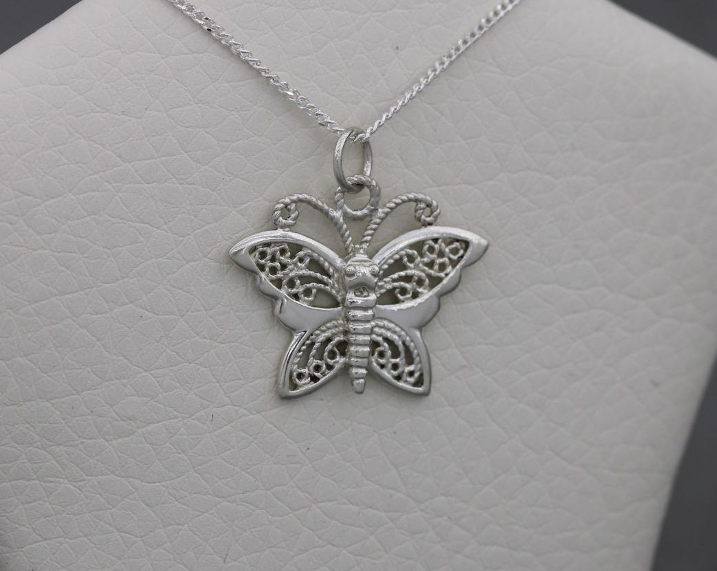 Sterling silver butterfly necklace with filigree wings