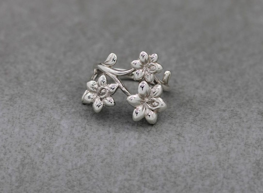 Layered asymmetric sterling silver flower ring