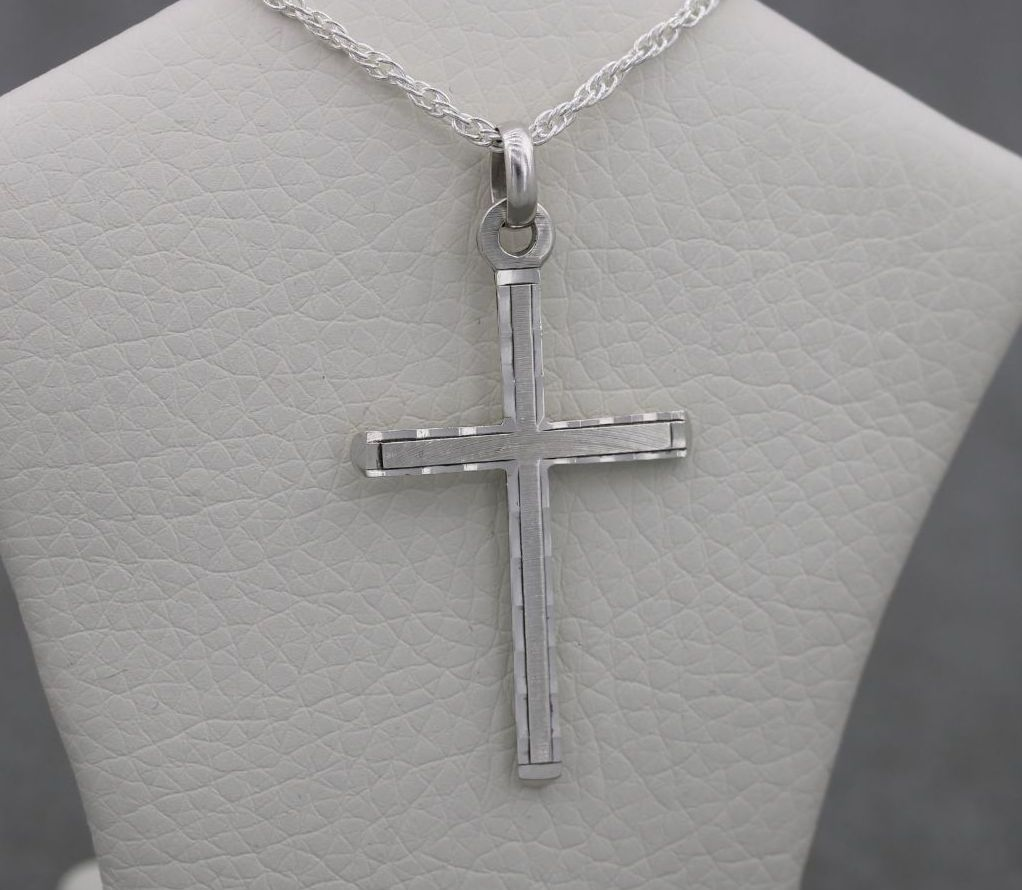 Vintage sterling silver shaped & lightly textured cross necklace
