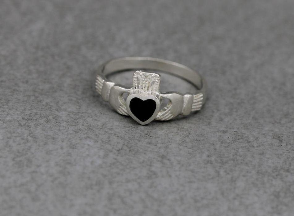 Sterling silver & black onyx heart claddagh ring