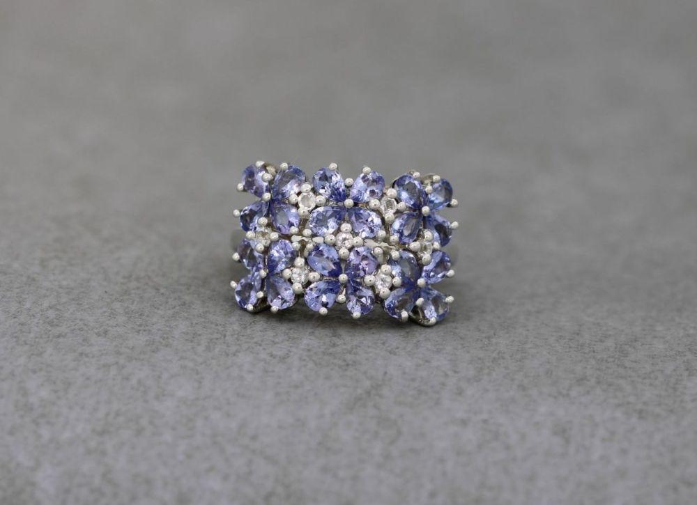 Sterling silver & iolite floral cluster ring