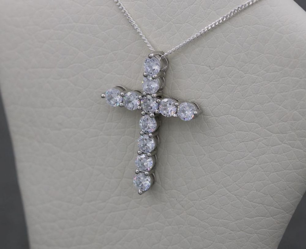Sterling silver & clear crystal cross necklace