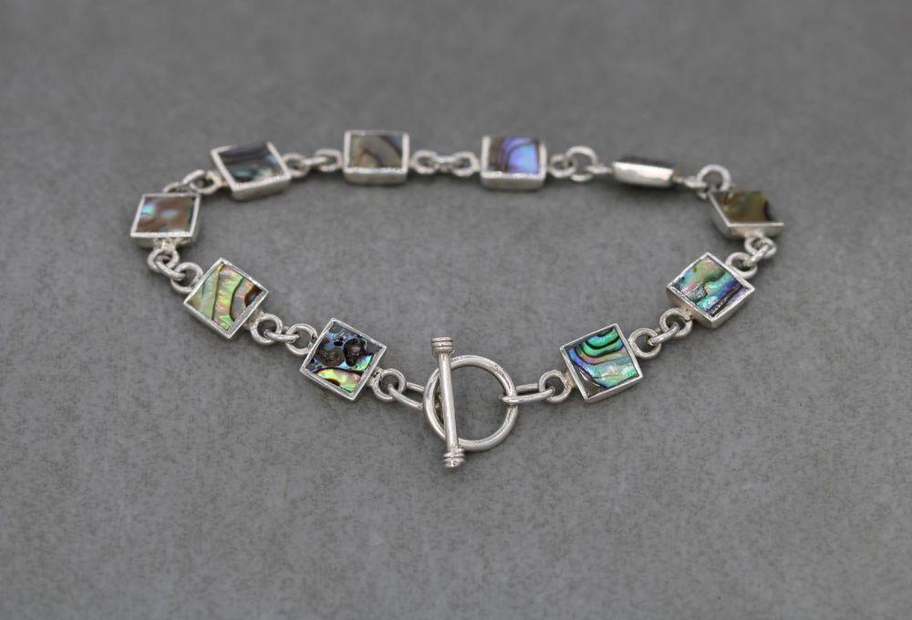 Square sterling silver & abalone toggle bracelet