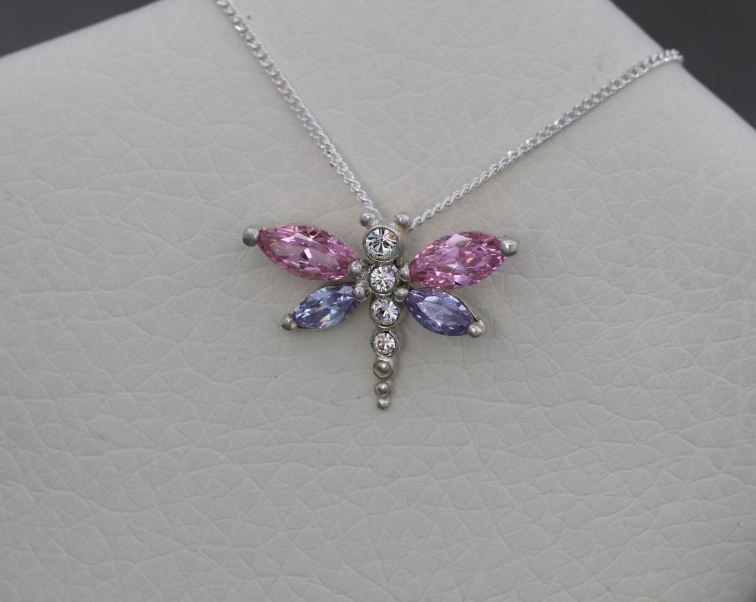 Small sterling silver dragonfly necklace with pink & purple stones