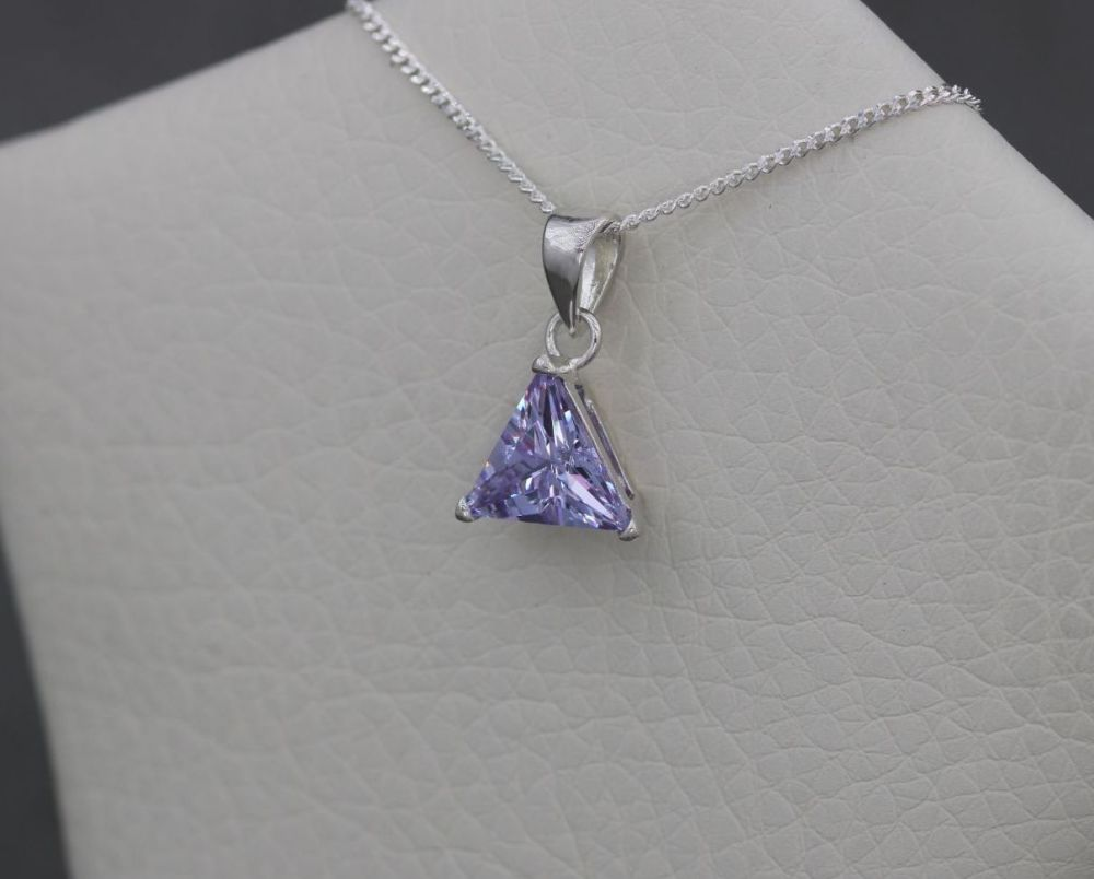 Small sterling silver & faceted triangular lilac stone necklace