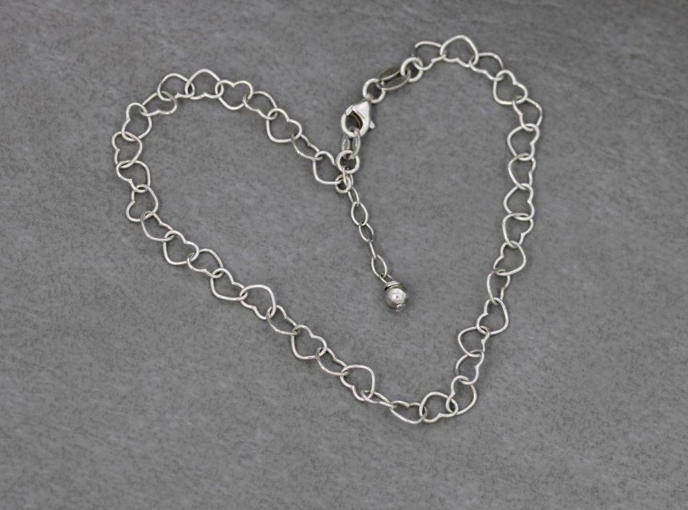 Sterling silver interlinked hearts anklet