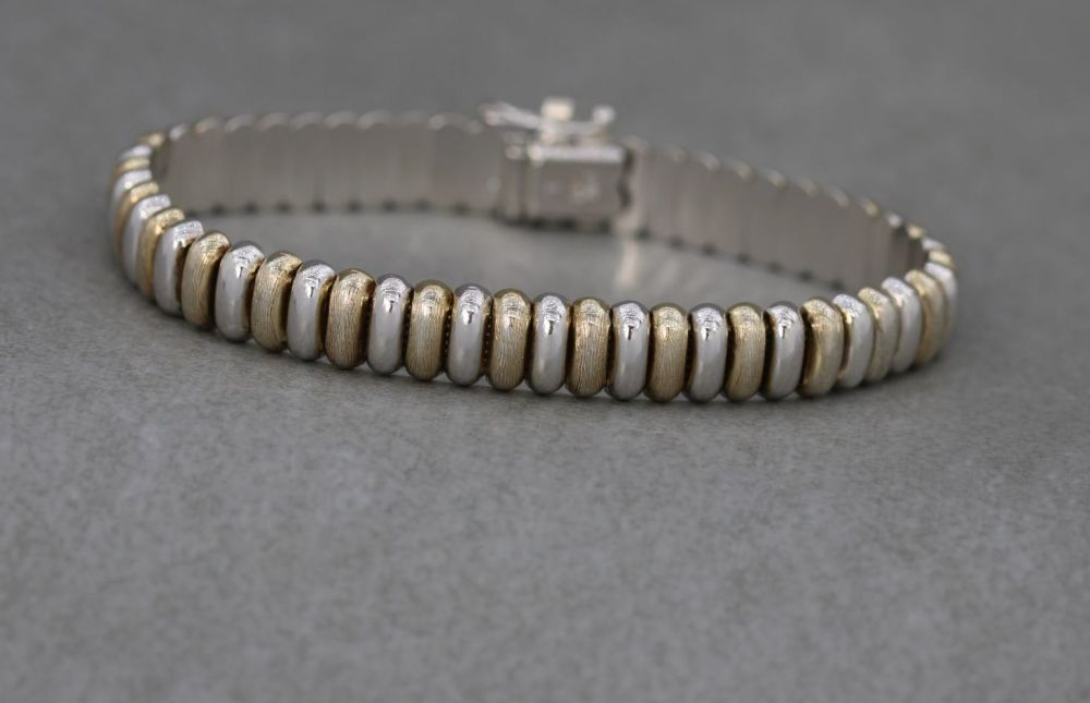Italian sterling silver bracelet with alternate gilt domed sections