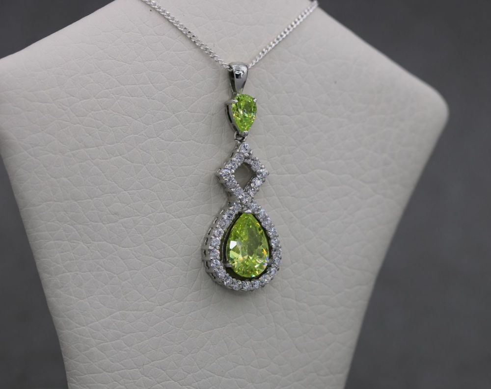 Sterling silver necklace with lime green & clear stones