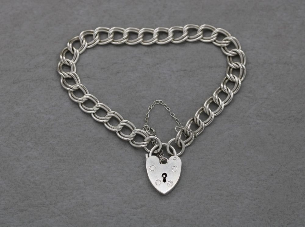 Vintage sterling silver double link charm bracelet with heart padlock clasp
