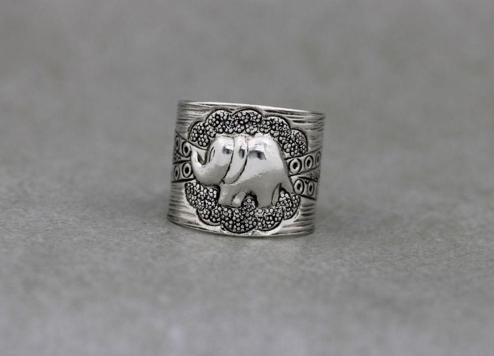 Wide sterling silver adjustable elephant ring
