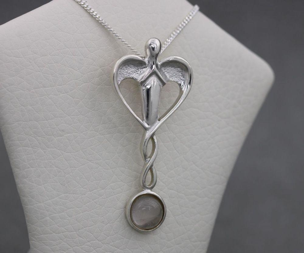 Sterling silver & rose quartz guardian angel necklace