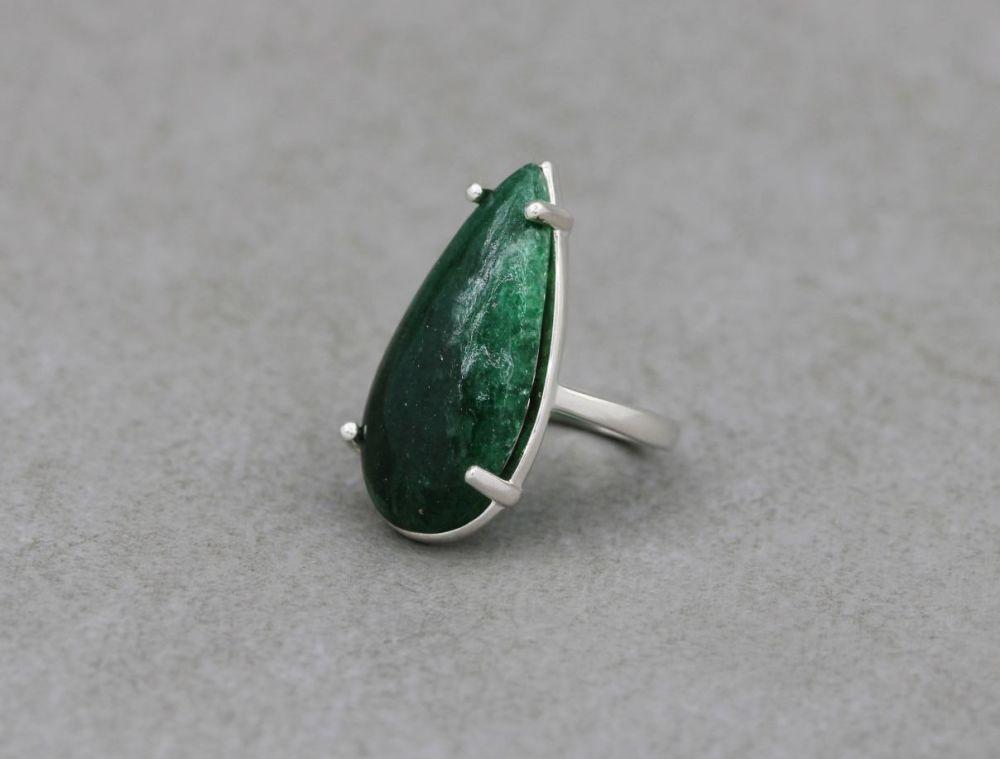 Long sterling silver & aventurine teardrop ring