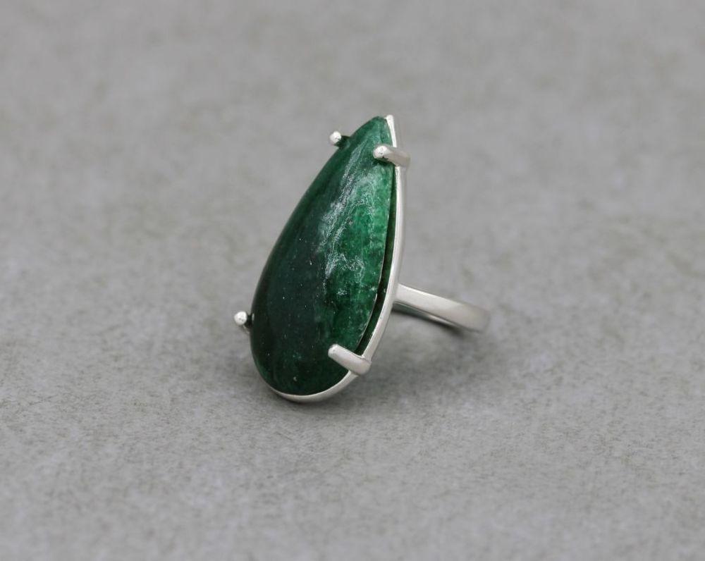 Long sterling silver & aventurine teardrop ring (N 1/2 )