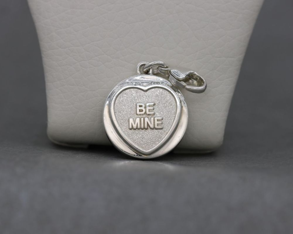 Solid sterling silver 'BE MINE' Lovehearts charm