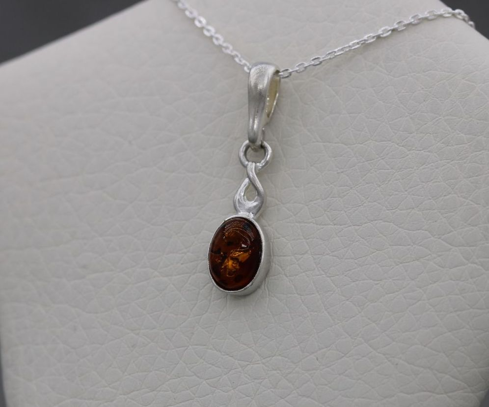 Small sterling silver & amber necklace