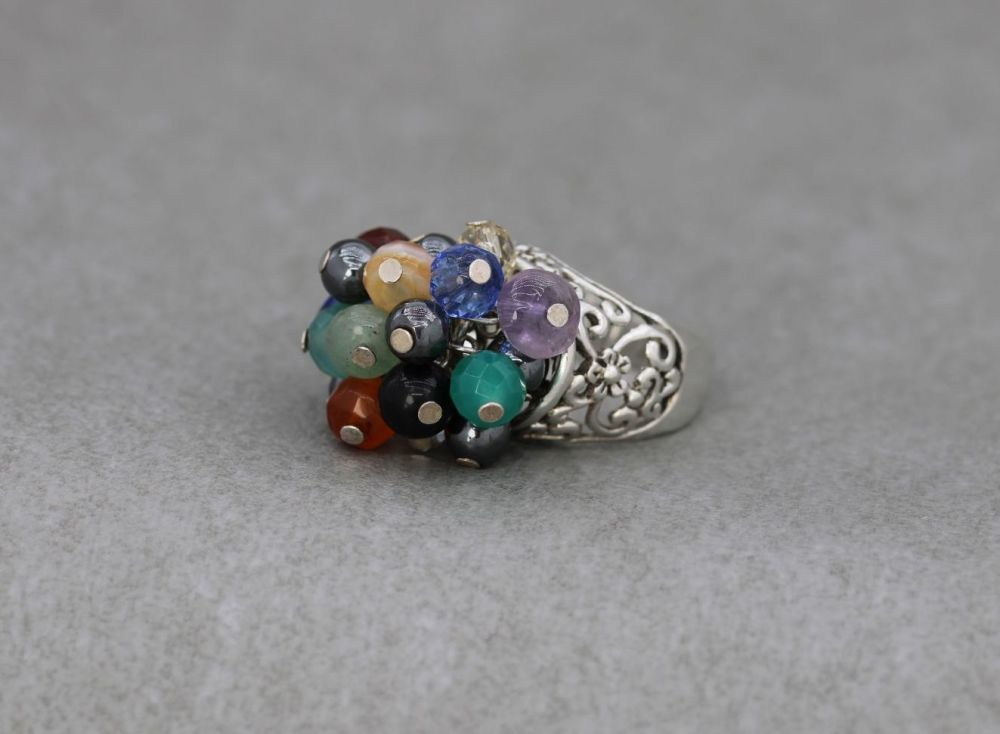 Bold sterling silver & multi-gem bead cluster ring