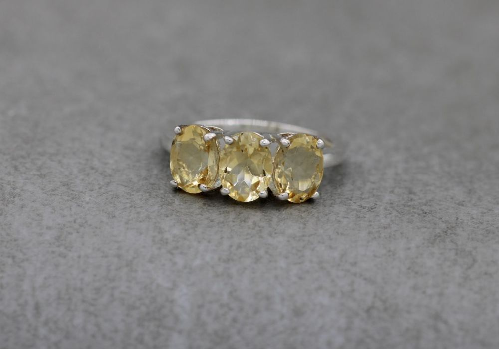 Sterling silver & citrine trilogy ring