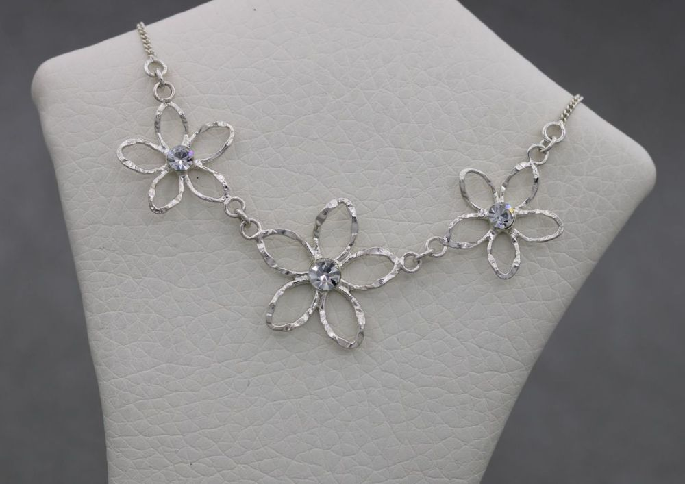 Delicate floral sterling silver & clear crystal necklace