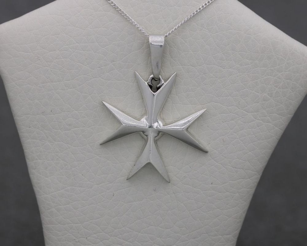 Maltese sterling silver cross necklace