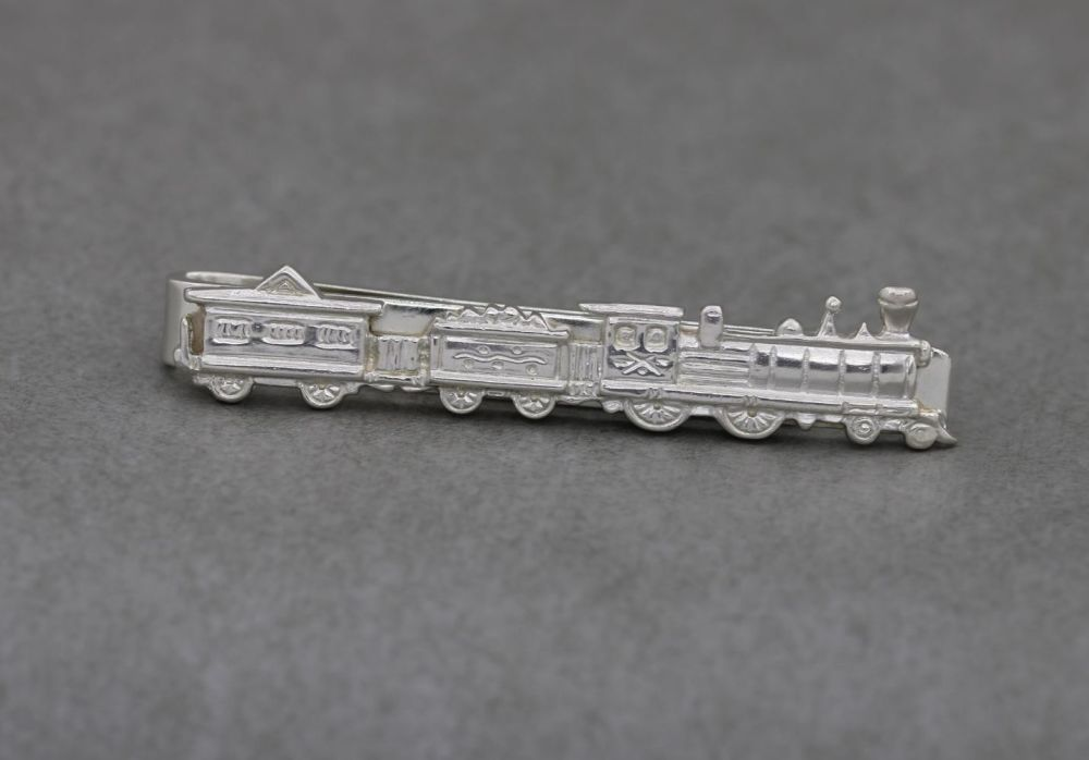 Vintage solid sterling silver train tie slide