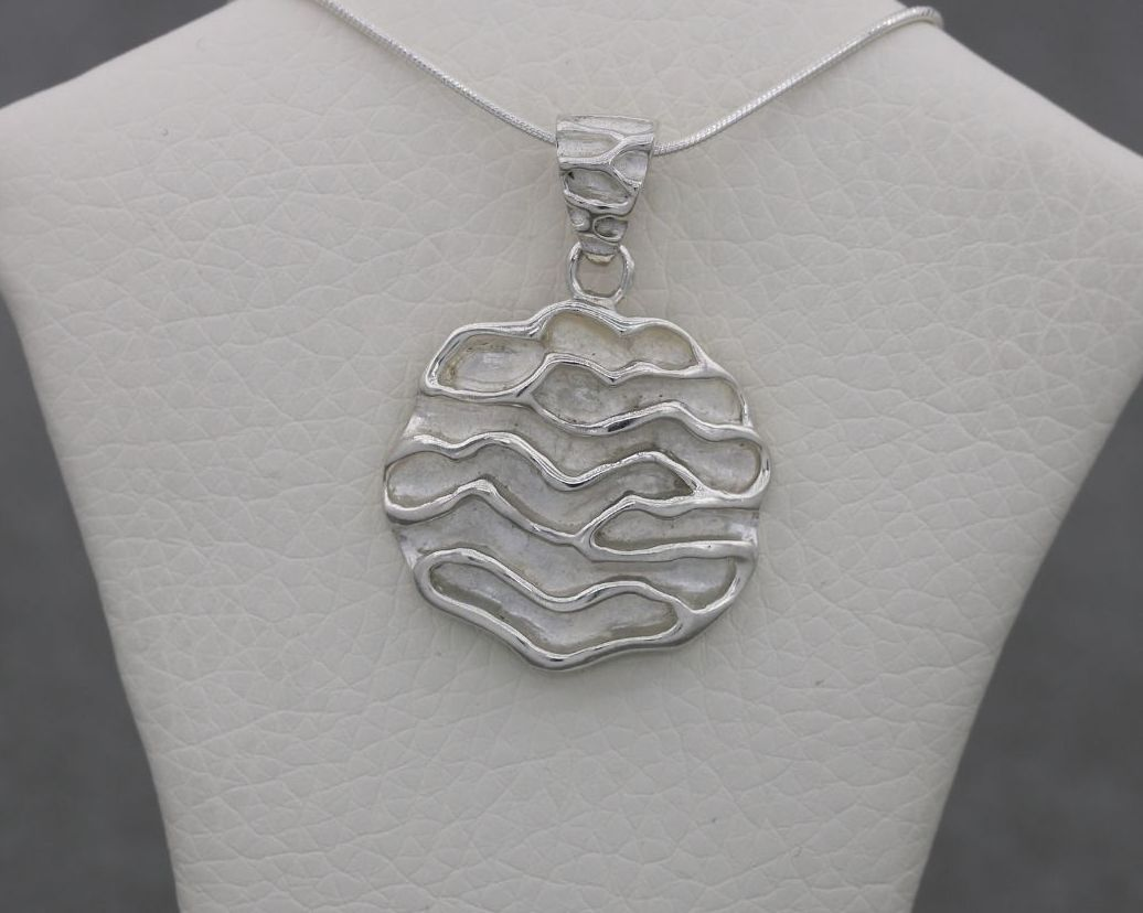 Handmade sterling silver deep ripple textured necklace