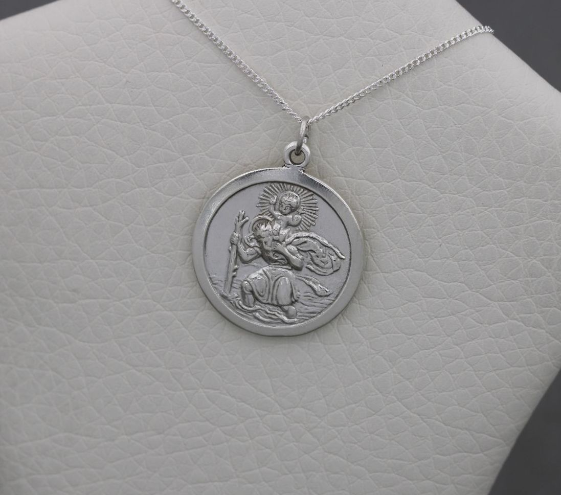 Vintage sterling silver St. Christopher necklace with 'I Love You' inscript