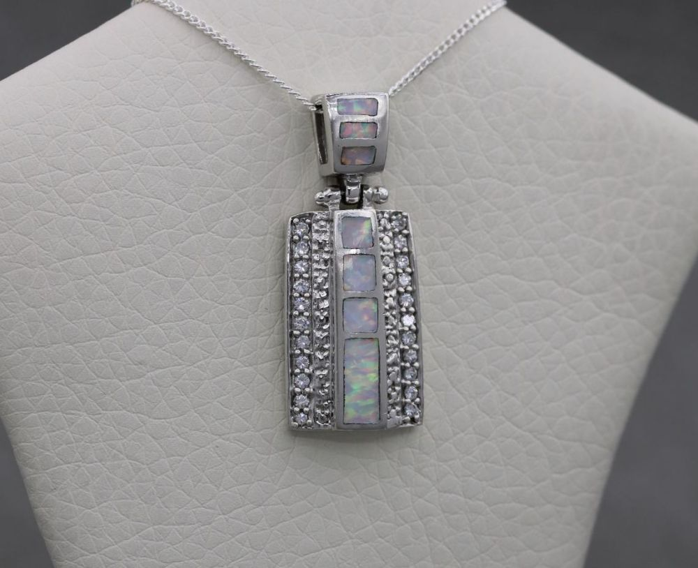 Sterling silver & imitation opal necklace