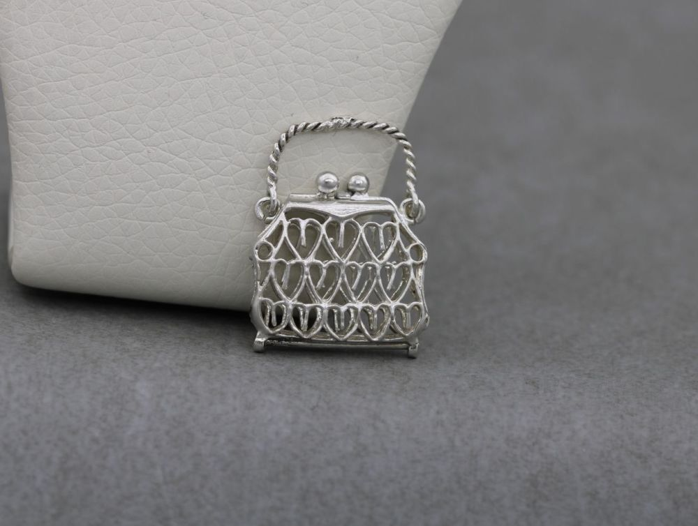 Vintage silver opening bag / purse charm