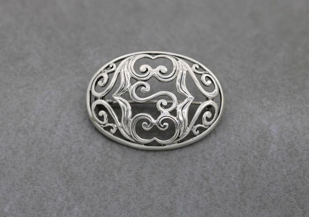 Sterling silver scroll design brooch