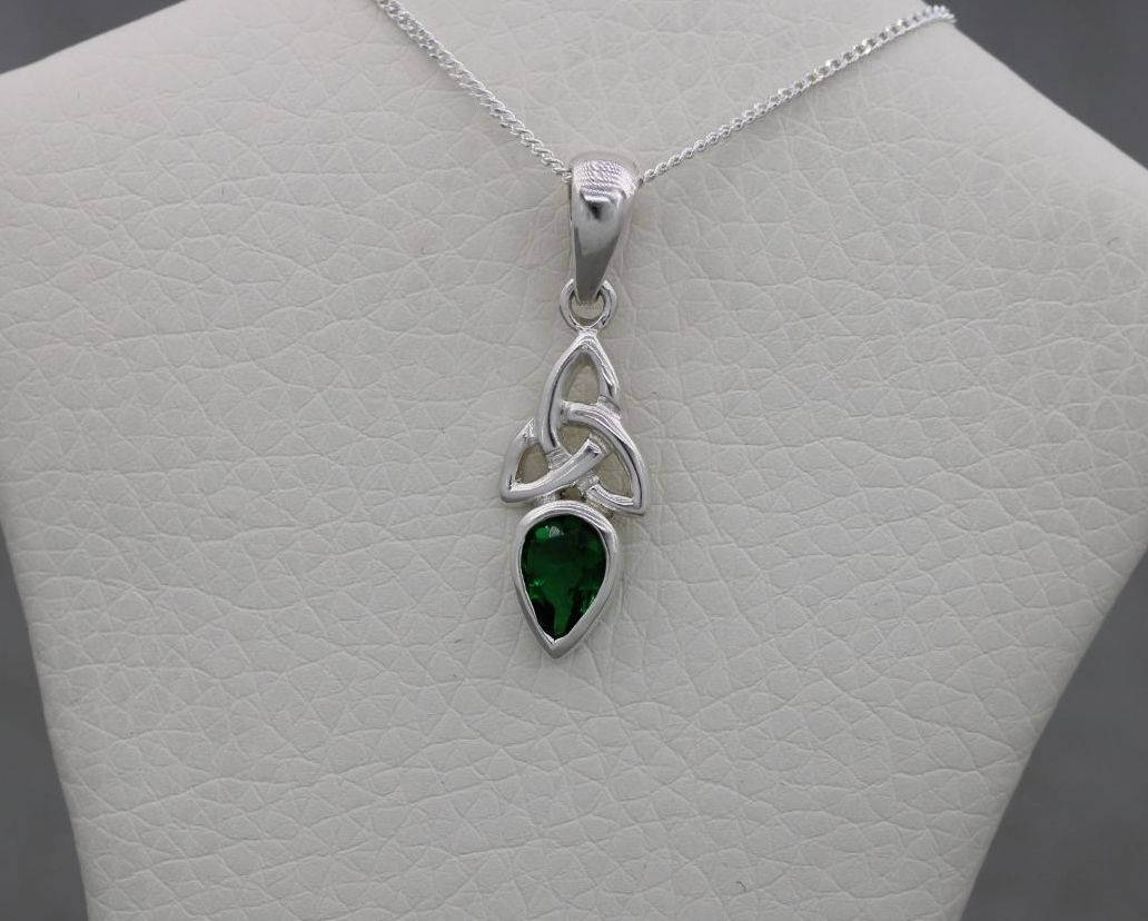 Small celtic sterling silver necklace with a green stone