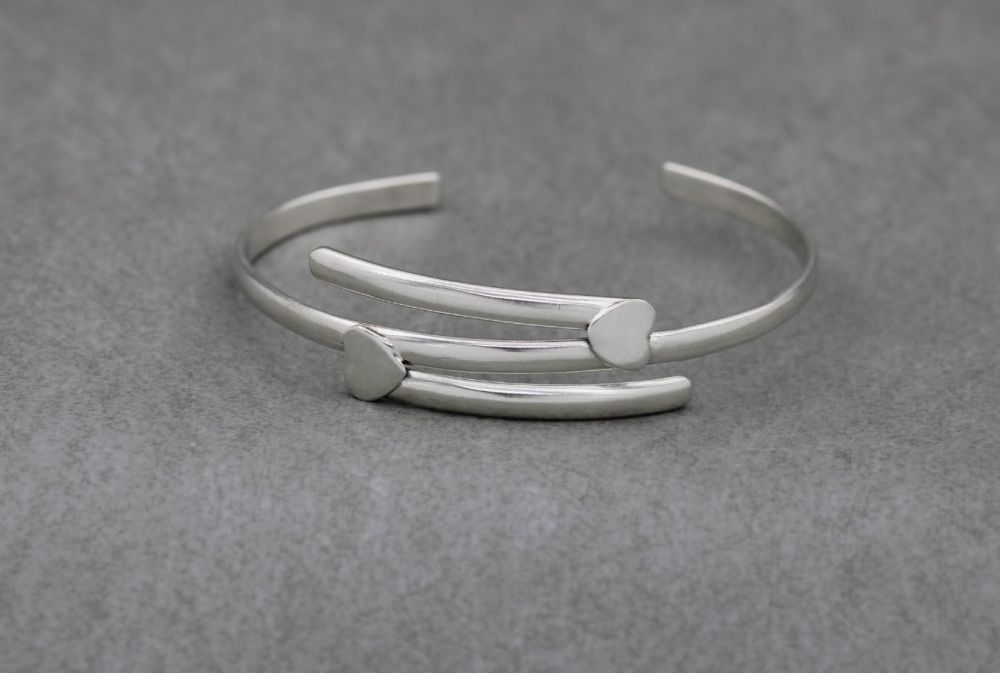 Handmade sterling silver layered effect cuff with hearts