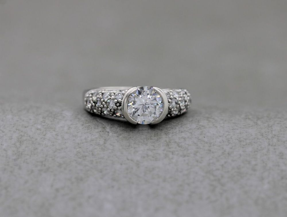 Bold sterling silver & clear stone ring