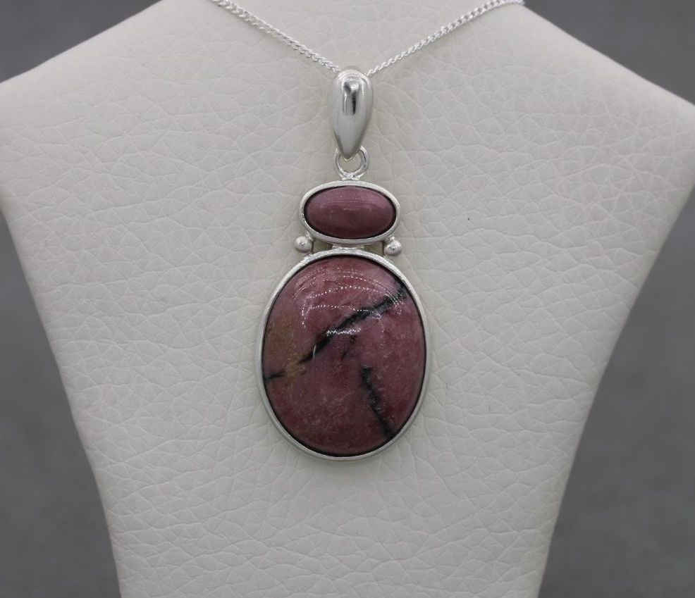 Sterling silver & rhodonite necklace