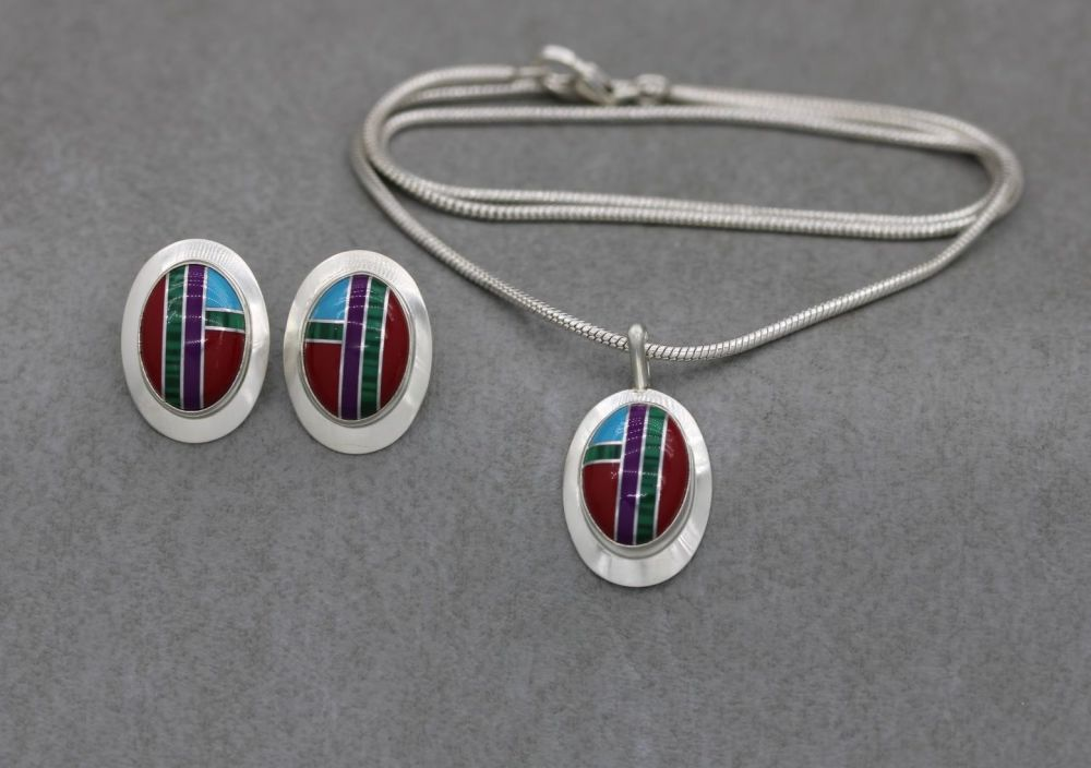 South western sterling silver inlaid necklace & earring set