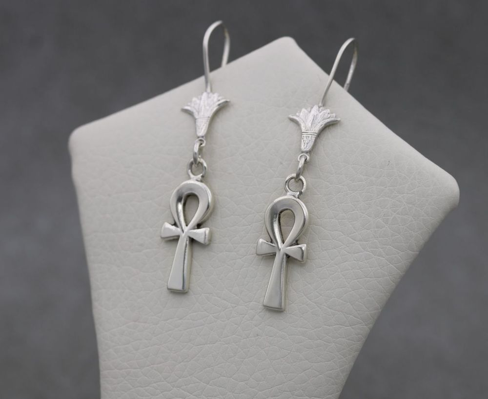 Egyptian 800 silver ankh & lotus flower drop earrings