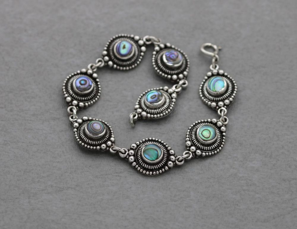 Fancy sterling silver & abalone bracelet