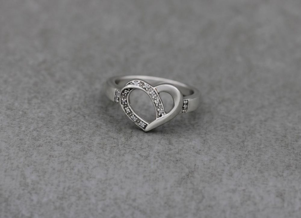 Sterling silver heart ring with tiny clear stones