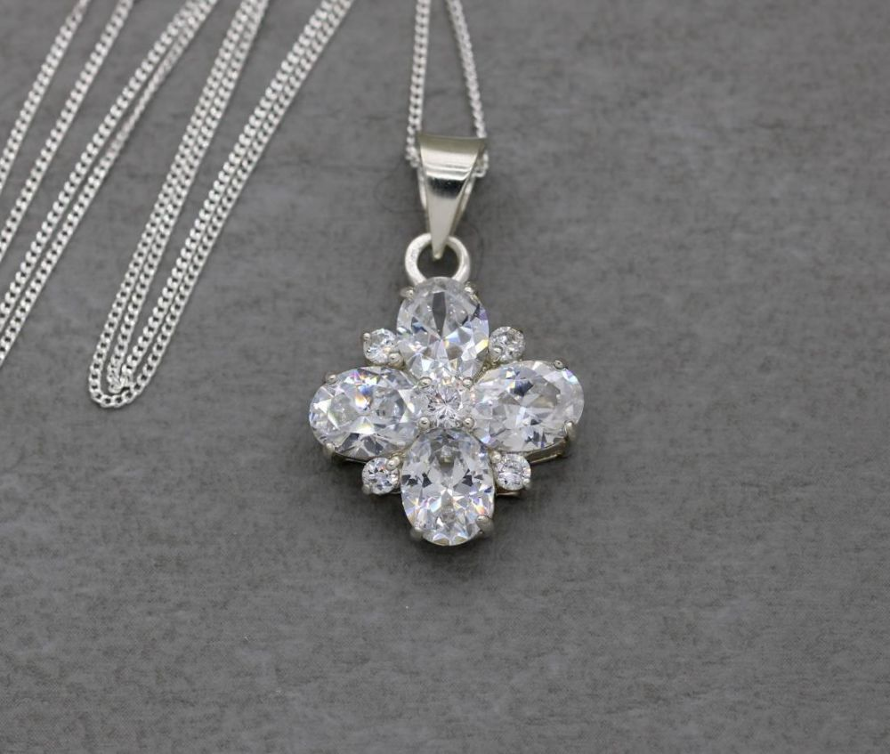 Sterling silver & clear stone floral cluster necklace