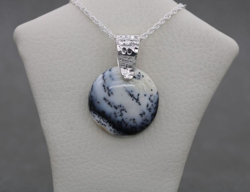Sterling silver & dendritic opal necklace
