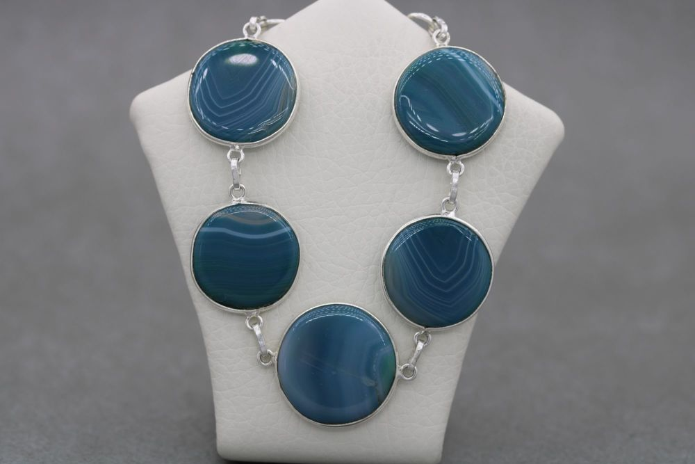 Sterling silver & dyed green agate disc bracelet