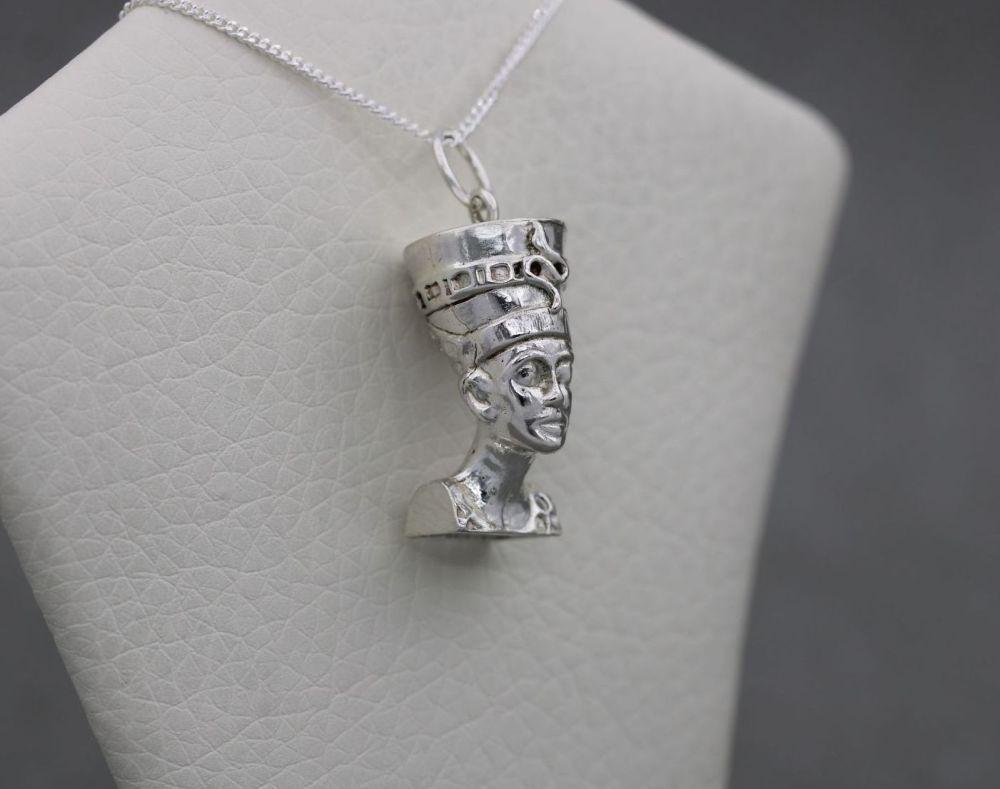 Sterling silver 3D Egyptian queen Nefertiti head necklace