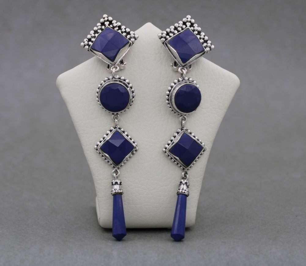 Long decorative sterling silver & blue faceted stone earrings